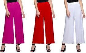 Lili Women's Stretchy Malia Lycra Wide Leg Palazzo Pants Pack of 3 (Free Size)
