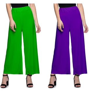 11da3af31e2f7 Buy Omikka Women s Stretchy Malia Lycra Wide Leg Palazzo Pants Pack of 2  (Free Size) Online - Get 50% Off