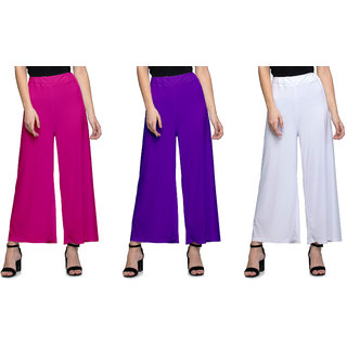 Omikka Women's Stretchy Malia Lycra Wide Leg Palazzo Pants Pack of 3 (Free Size)