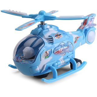 Helicopter with LED Lights on Wings, Bump and Go Action Multi