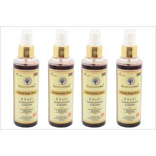 Khadi Natural Sandalwood  Honey Herbal Body wash 210 ml pack of 4