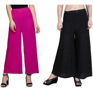 Lili Women's Stretchy Malia Lycra Wide Leg Palazzo Pants Pack of 2 (Free Size)