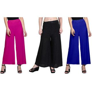 Omikka Women's Stretchy Malia Lycra Wide Leg Palazzo Pants Pack of 3 (Free Size)