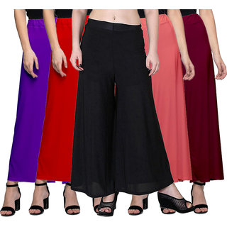 Omikka Women's Stretchy Malia Lycra Wide Leg Palazzo Pants Pack of 5 (Free Size)