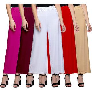 Lili Women's Stretchy Malia Lycra Wide Leg Palazzo Pants Pack of 5 (Free Size)