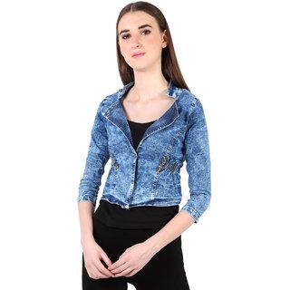 Buy Different Denim Women's Self Design 3/4th Sleeve Jacket/Shrug