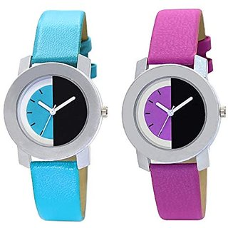New Designer Analogue Pink  Blue Dial Womens  Girls Combo Watch Leather Strap- New Collection