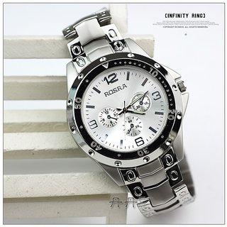 Rosra Round Dial Silver Metal Strap Quartz Watch For Men