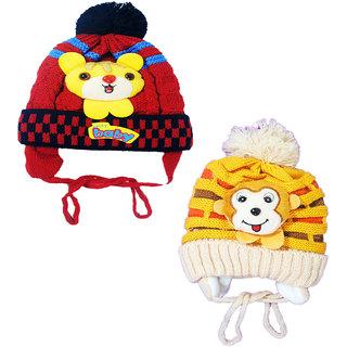 Kids Stylish Winter Cap/ Woollen Cap 2 Pair (Red,Biege)