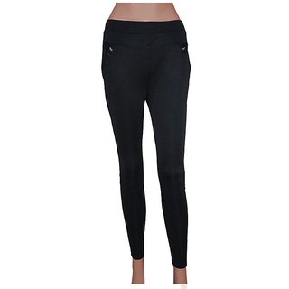 Itya Global New Beautiful And Stylish Black Jegging With Stylish Pocket Jegging For Women's (Free Size-S,M,L,XL)