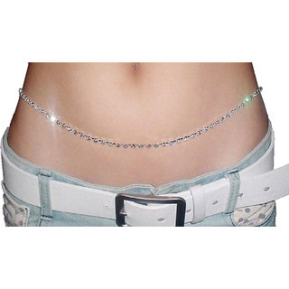 Kamarband Belly Chain For Women  Girls 1 Line Silver Plated, 39 Inches
