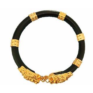9e3d35054e646 Gold Plated Lion Face Black Bracelet for Men/Women/Child