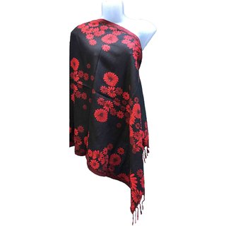 Varun Cloth House Womens Woollen Embellished floral Stole (vch5087, Black, Free Size)