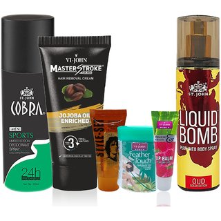 Couple Kit For Men  Women - Hair Removal Cream, Deodorant, Hair Gel, Lip Balm