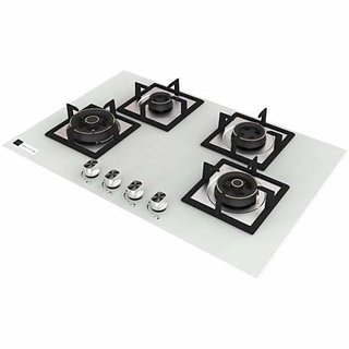 Health pure Swift 4 Burner Glass Top Hob/Gas Stove (White)
