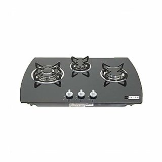 Health pure GL 3 Burner Glass Top Hob/Gas Stove (Black)