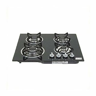 Health pure GL 4 Burner Glass Top Hob/Gas Stove (Black)
