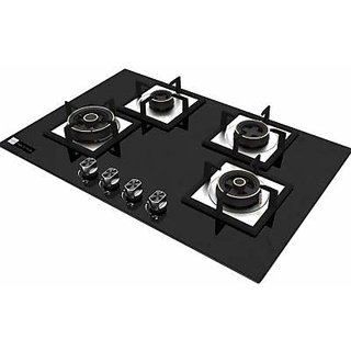 Health pure Swift 4 Burner Glass Top Hob/Gas Stove (Black)