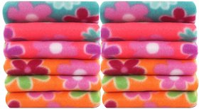 Home Delight Multicolor Cotton Abstract Face Towel Set Of 12 (25 Cm X 25 Cm)