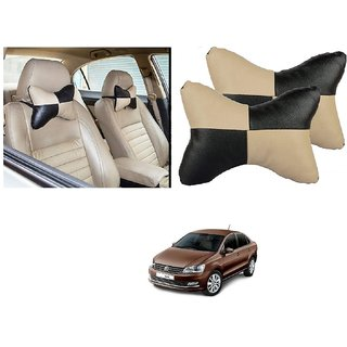Auto Addict Square Beige Black Neck Rest Cushion Pillow Set Of 2 Pcs For Volkswagen Vento