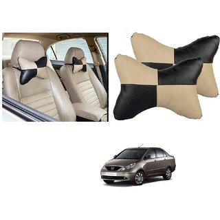 Auto Addict Square Beige Black Neck Rest Cushion Pillow Set Of 2 Pcs For Tata Indigo