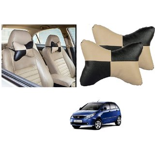 Auto Addict Square Beige Black Neck Rest Cushion Pillow Set Of 2 Pcs For Tata Indica Vista