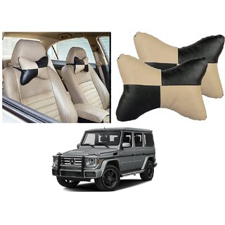 Auto Addict Square Beige Black Neck Rest Cushion Pillow Set Of 2 Pcs For Mercedes Benz G-Class