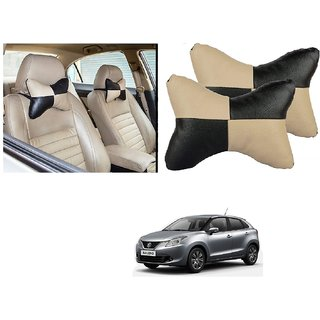 Auto Addict Square Beige Black Neck Rest Cushion Pillow Set Of 2 Pcs For Maruti Suzuki Baleno Nexa