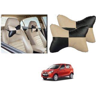 Auto Addict Square Beige Black Neck Rest Cushion Pillow Set Of 2 Pcs For Maruti Suzuki Alto 800
