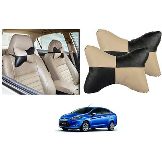 Auto Addict Square Beige Black Neck Rest Cushion Pillow Set Of 2 Pcs For Ford Fiesta
