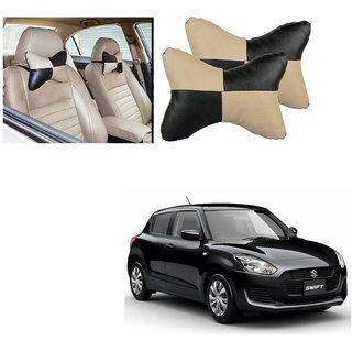 Auto Addict Square Beige Black Neck Rest Cushion Pillow Set Of 2 PcsFor Maruti Suzuki New Swift 2018