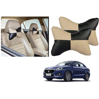 Auto Addict Square Beige Black Neck Rest Cushion Pillow Set Of 2 PcsFor Maruti Suzuki New Swift Dzire 2017