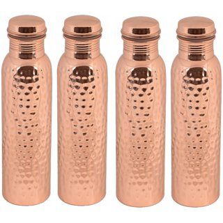 COPPER HAMMERED WATER BOTTLE SET OF 4 PC 950 ML