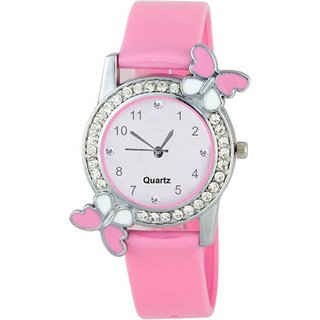 New Pink Stylish Diamond Studded Butterfly Women Watch Watch - For Girls