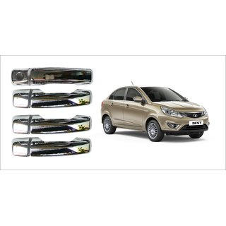 Trigcars Tata Zest Car Door Handle Latch Chrome Plated Cover Set Of 4 Pcs With Car Bluetooth