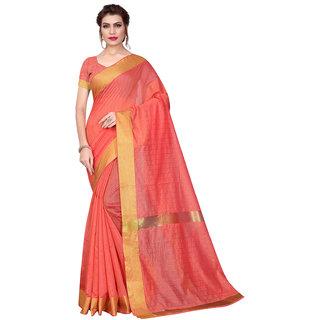 Swaron Peach Cotton Silk Maheshwari Woven Patta Saree