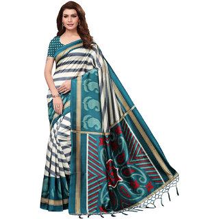 Swaron Turquoise And Off White Poly Silk Printed Saree