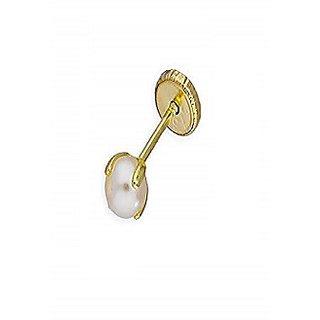 Buy Natural Pearl Stone Lab Certifed Pearl Moti Nosepin Gold