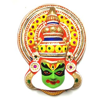 keralashopee (TM) Handcrafted Paper Pulp With Hand Painted Kathakali Face 10 Inches (25.3 cm)