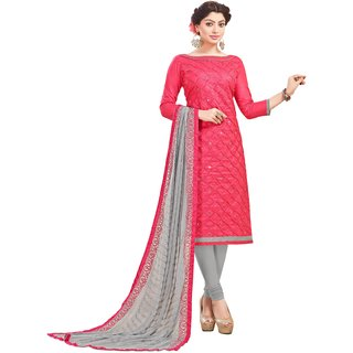 DnVeens Women Cotton Embroidery Mirror Work Unstitched Suit Heavy Dupatta Party Wear Salwar Kameez