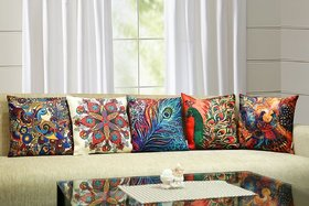 3D Digital Printed Peacock Multicolour Cotton Jute Cushion Cover - Set Of 5(16X16-Inches)