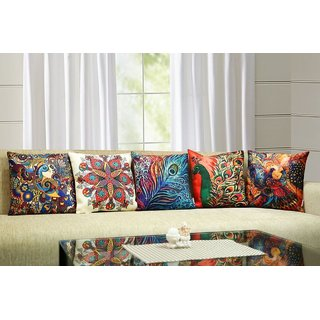 3D Digital Printed Peacock Multicolour Cotton Jute Cushion Cover - Set Of 5(16X16-Inches)
