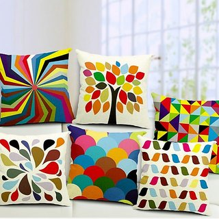 3D Digital Canvas Jute Cushion Cover (Multicolour, 16x16-inch/ 40x40cm) - Set of 5