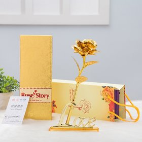 24K Golden Rose with Love Stand , Golden Gift Box and Carry Bag