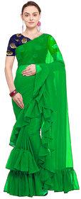 stylezone Women's Georgette Solid Ruffle Saree-ruffel green