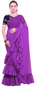 stylezone Women's Georgette Solid Ruffle Saree-ruffel purple