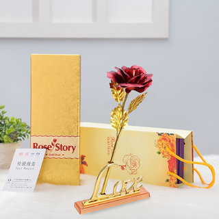 24K RED Golden Rose with Love Stand , Golden Gift Box and Carry Bag