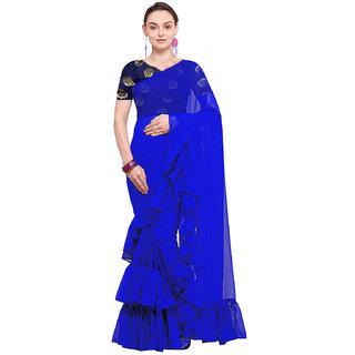 stylezone Women's Georgette Solid Ruffle Saree-ruffel blue