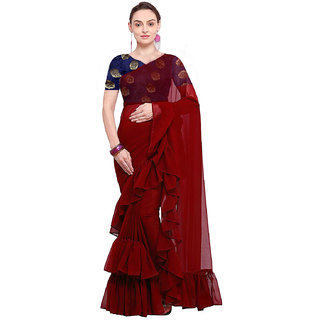 Stylezone Women's Georgette Solid Ruffle Saree