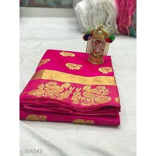 Pemal Designer Women's Cotton Silk Weaving Saree With Jecqured Border Running Blouse Pics BBC90